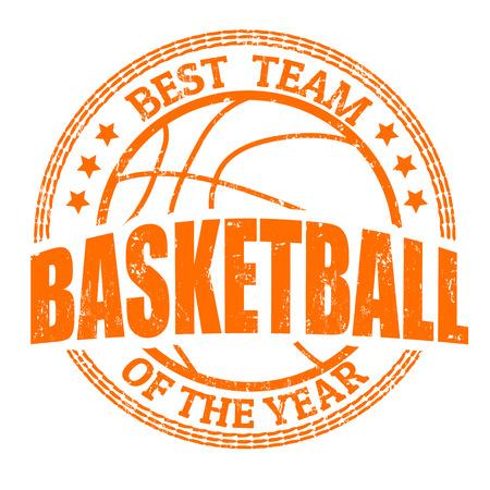 basketball: Basketball grunge rubber stamp on white, vector illustration