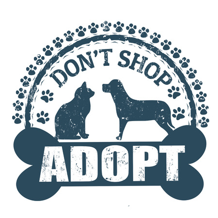 dog paw: Dont shop, adopt stamp
