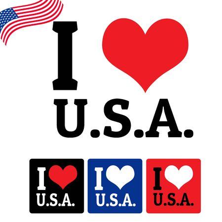 timbre voyage: J'adore signe États-Unis et des étiquettes sur fond blanc, illustration vectorielle Illustration