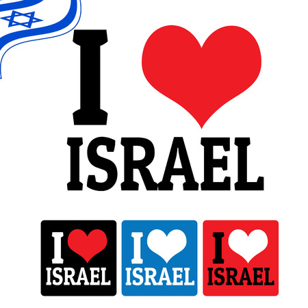 I love Israel sign and labels on white background, vector illustration Vector