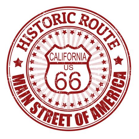 グランジ スタンプ テキストの歴史的なルート 66、カリフォルニア、ベクトル イラスト 写真素材 - 23226137