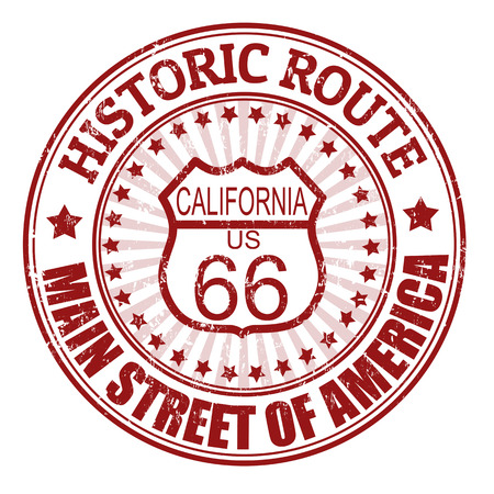 main street: Grunge rubber stamp with text Historic Route 66, California, vector illustration