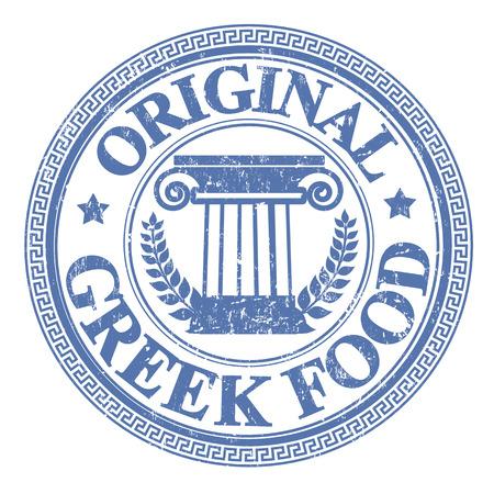 Bleu tampon en caoutchouc grunge avec les éléments grecs et le texte d'origine alimentaire grec écrit sur le timbre Banque d'images - 23226138