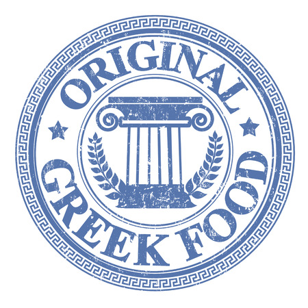 Blue grunge rubber stamp with Greek elements and the text Original Greek Food written on the stamp
