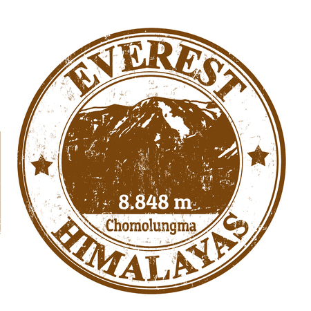 Grunge rubber stamp with the Mount Everest, vector illustration Vector