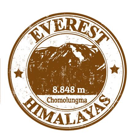everest: Grunge rubber stamp with the Mount Everest, vector illustration Illustration