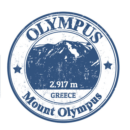 olympus: Grunge rubber stamp with the Mount Olympus, vector illustration Illustration