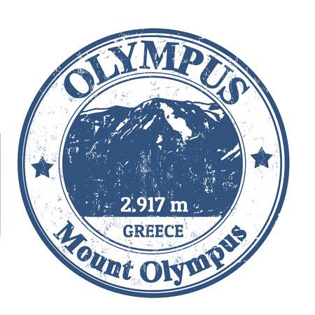 olimpo: Grunge sello de goma con el Monte Olympus, ilustraci�n vectorial
