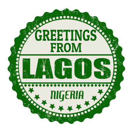 lagos: Label or  rubber stamp with text Greetings from Lagos, vector illustration