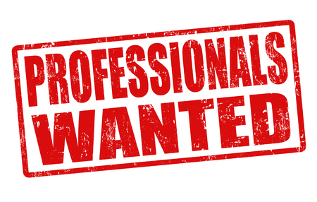seeking: Professionals wanted grunge rubber stamp on white, vector illustration