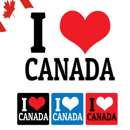 i love canada: I love Canada sign and labels on white background, vector illustration