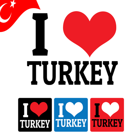 I love Turkey sign and labels on white background, vector illustration Vector