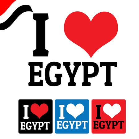 bandera de egipto: Me encanta señal de Egipto y las etiquetas sobre fondo blanco, ilustración vectorial