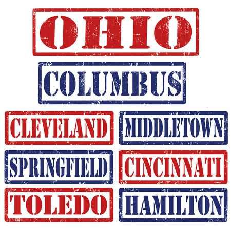 hamilton: Set of Ohio cities stamps on white background, vector illustration