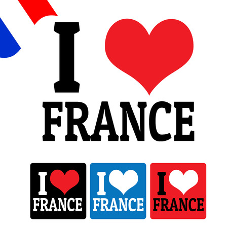 I love France sign and labels on white background, vector illustration Vector