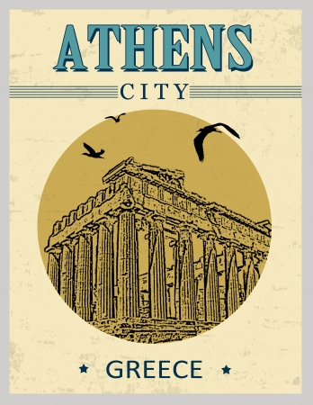 Parthenon from Athens in vitage style poster, vector illustration Stock Vector - 23240014