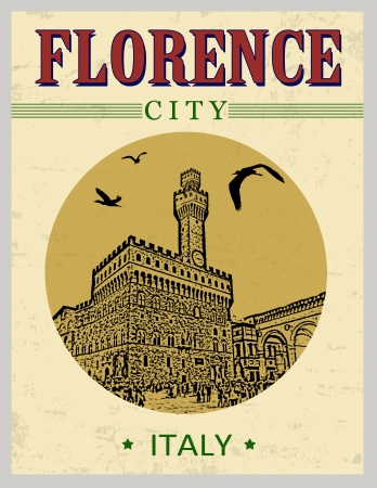 The Old Palace, from Florence,  Italy  in vintage style poster, vector illustration Stock Vector - 23240016
