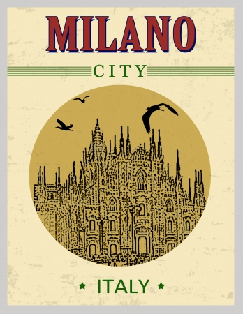 duomo: Cathedral of Milano, Italy  in vintage style poster, vector illustration Illustration
