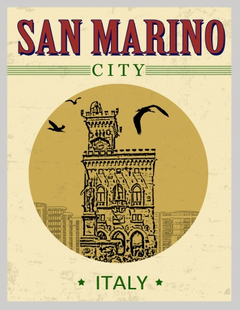 Public Palace, from San Marino,  Italy  in vintage style poster, vector illustration Stock Vector - 23240019