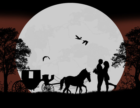 Carriage and lovers at night on beautiful landscape, vector illustration Vector