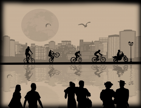 Vector design background with beautiful cityscape,bikers and couple silhouette with reflection on water Vector