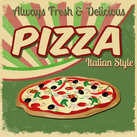 Pizza poster in vintage style, vector illustration Vector