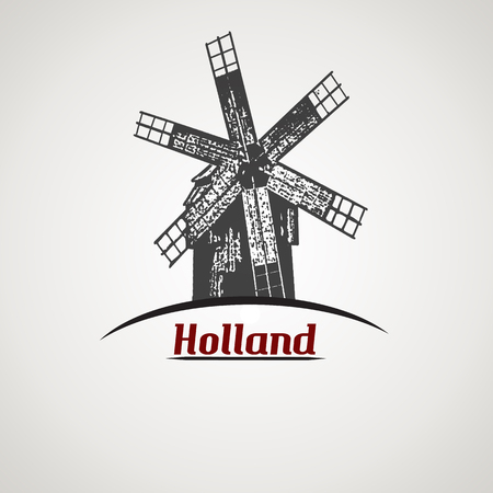 Holland in vitage style poster with windmill shape, vector illustration