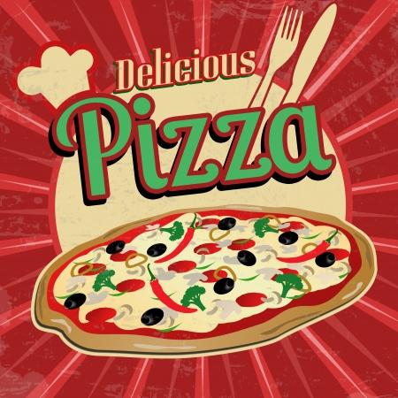 おいしいピザ ポスター ビンテージ スタイルで、ベクトル イラスト  イラスト・ベクター素材