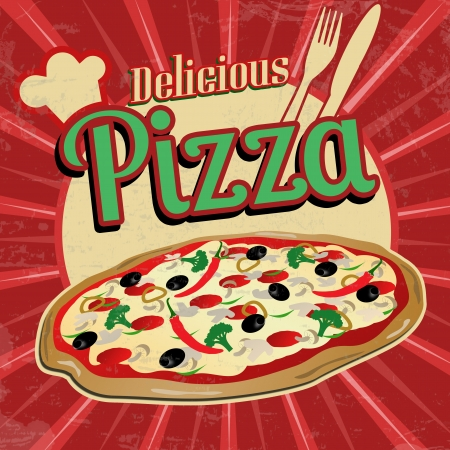 Delicious pizza poster in vintage style, vector illustration Vector