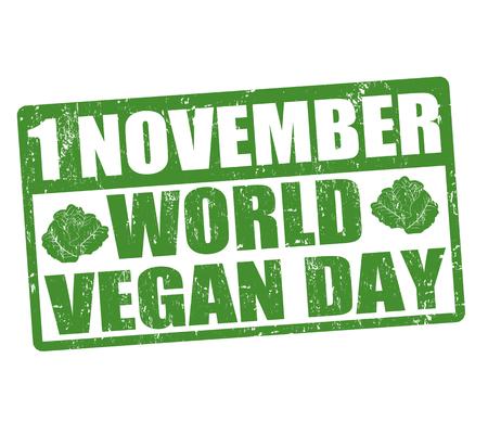 World vegan day grunge rubber stamp, vector illustration Vector