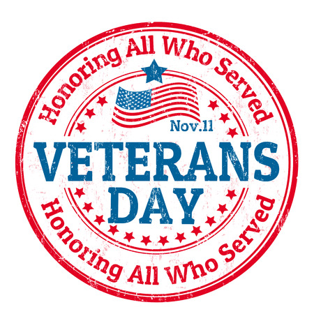 veterans: Grunge rubber stamp with the text Veterans Day written inside, vector illustration