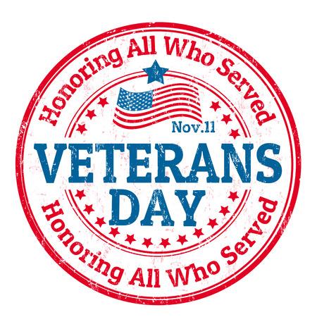 Grunge sello de goma con el texto de Día de los Veteranos escrito en su interior, ilustración vectorial
