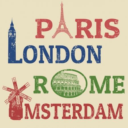 パリ、ロンドン、ローマ、アムステルダム グランジ スタンプ、有名なランドマーク、エッフェル塔、ビッグベン、コロッセオ、風車  イラスト・ベクター素材