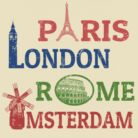 travel icon: Parijs, Londen, Rome en Amsterdam grunge postzegels, beroemde bezienswaardigheden Eiffeltoren, de Big Ben, Colosseum en Windmill Stock Illustratie