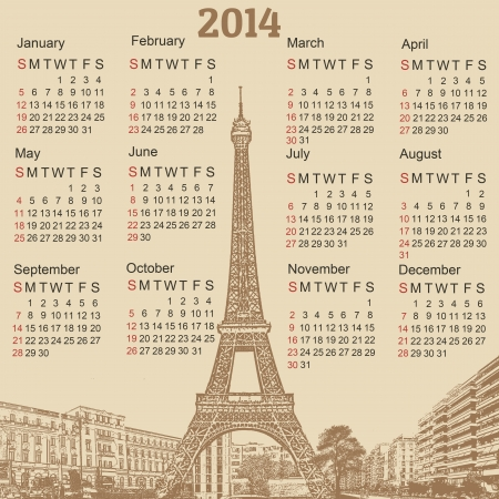 old diary: Scenery of Paris 2014 calendar on vintage background, vector illustration