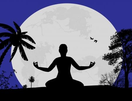 Sunset landscape vector: Vector hình minh họa của thiền yoga trong tư thế hoa sen của người phụ nữ hình bóng lúc hoàng hôn nền cảnh quan, minh hoạ vector