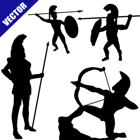 phalanx: Set di sagome spartane oplitiche su sfondo bianco, illustrazione vettoriale