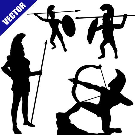 hoplite: Set of spartan hoplite silhouettes on white background, vector illustration