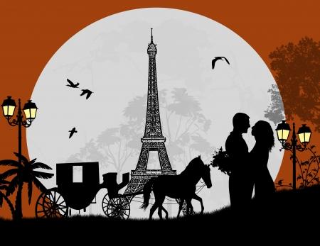 romanticismo: Trasporto e amanti di notte a Parigi, sfondo romantico, illustrazione vettoriale