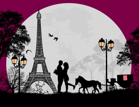 romantic getaway: Carriage and lovers at night in Paris, romantic background, vector illustration Illustration