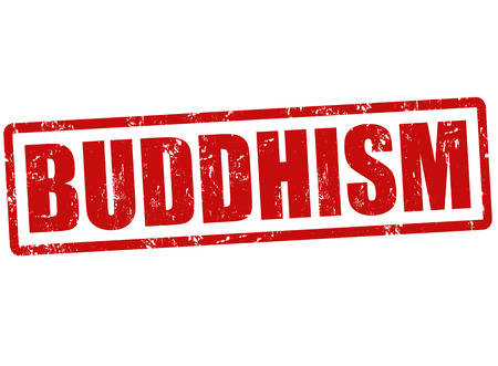 Buddhism grunge rubber stamp on white, vector illustration Vector