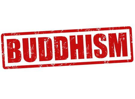 mindfulness: Buddhism grunge rubber stamp on white, vector illustration