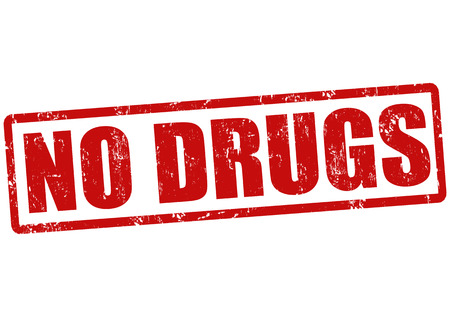 drug dealer: No drugs grunge rubber stamp on white, vector illustration Illustration