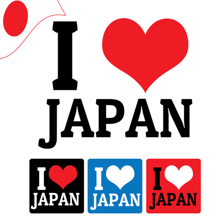 I love Japan sign and labels on white background, vector illustration Vector