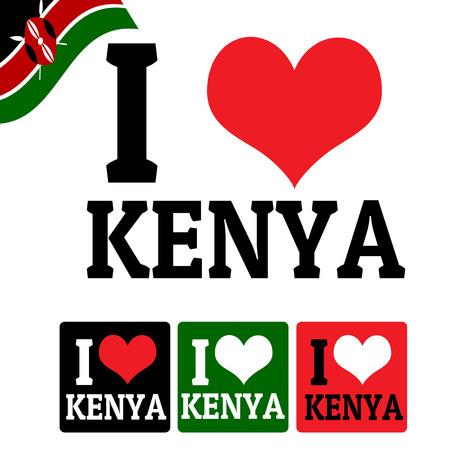 kenya: I love Kenya sign and labels on white background, vector illustration