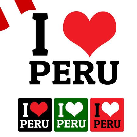 bandera de peru: Me encanta señal Perú y las etiquetas sobre fondo blanco, ilustración vectorial