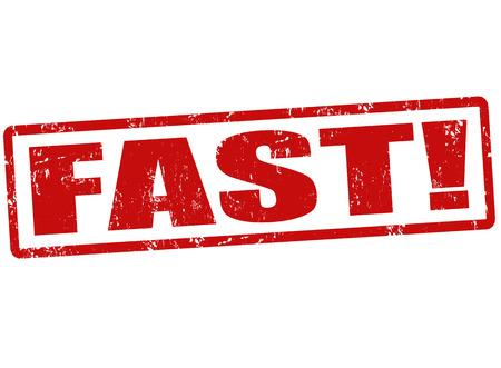 haste: Fast  grunge rubber stamp on white, vector illustration