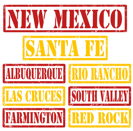 mexico city: Set of New Mexico cities stamps on white background, vector illustration