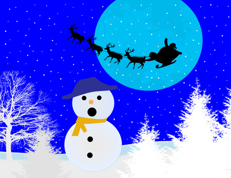 Christmas background with snowman and Santa s sleigh, vector illustration
