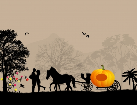 Pumpkin carriage and lovers at on beautiful landscape, vector illustration